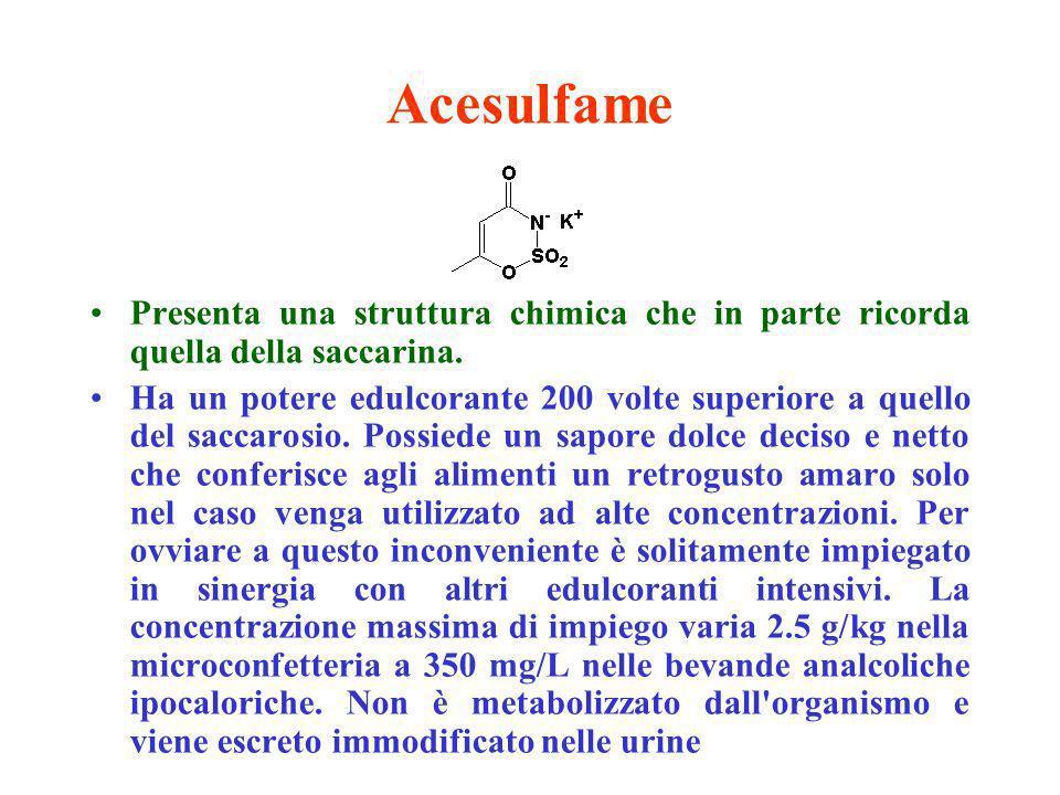 Acesulfame Presenta una struttura chimica che in parte ricorda quella della saccarina.