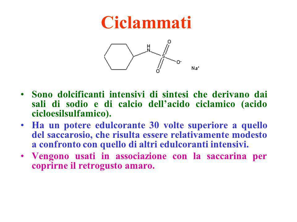 Ciclammati Sono dolcificanti intensivi di sintesi che derivano dai sali di sodio e di calcio dell'acido ciclamico (acido cicloesilsulfamico).