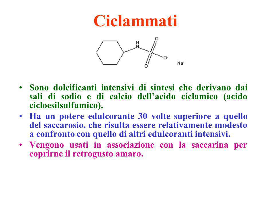 CiclammatiSono dolcificanti intensivi di sintesi che derivano dai sali di sodio e di calcio dell'acido ciclamico (acido cicloesilsulfamico).