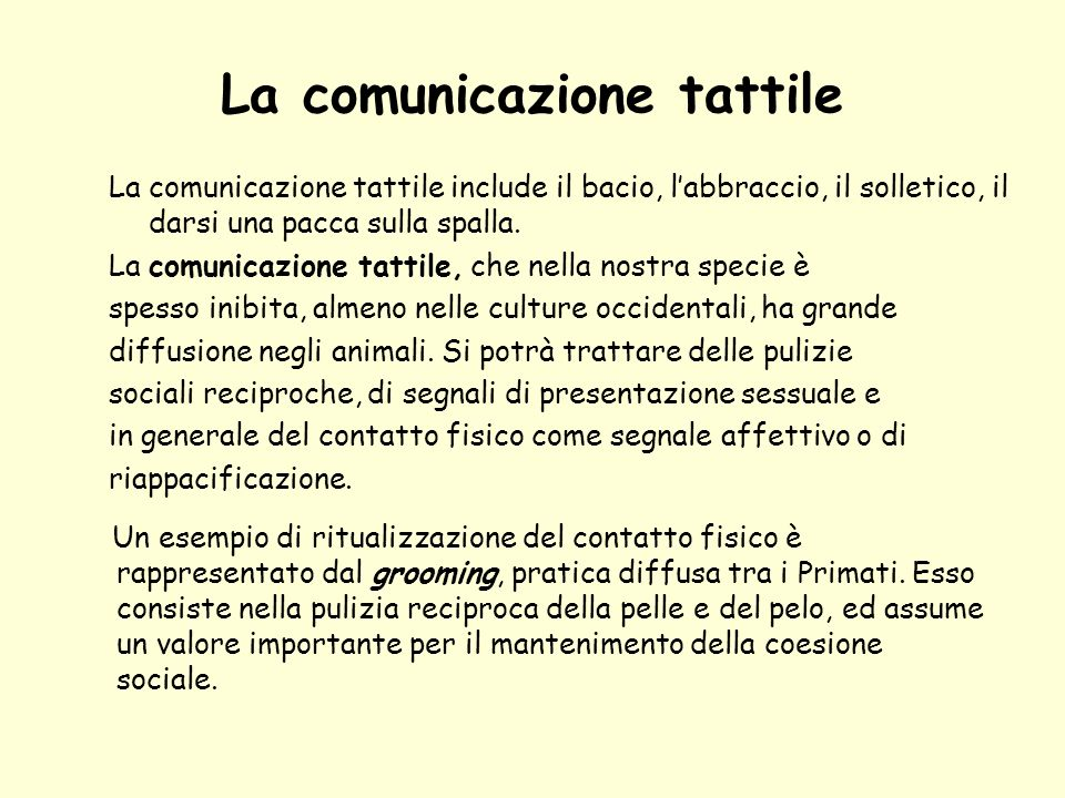 La comunicazione tattile