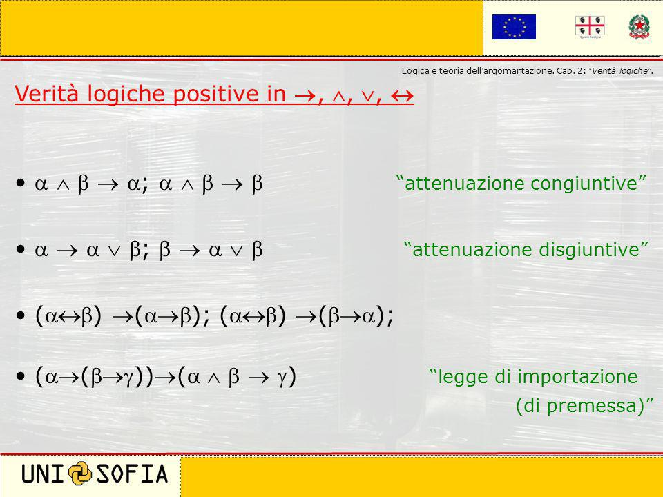 Verità logiche positive in , , , 