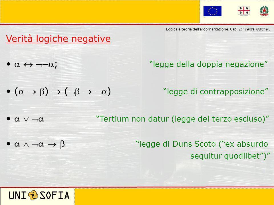 Verità logiche negative   ; legge della doppia negazione