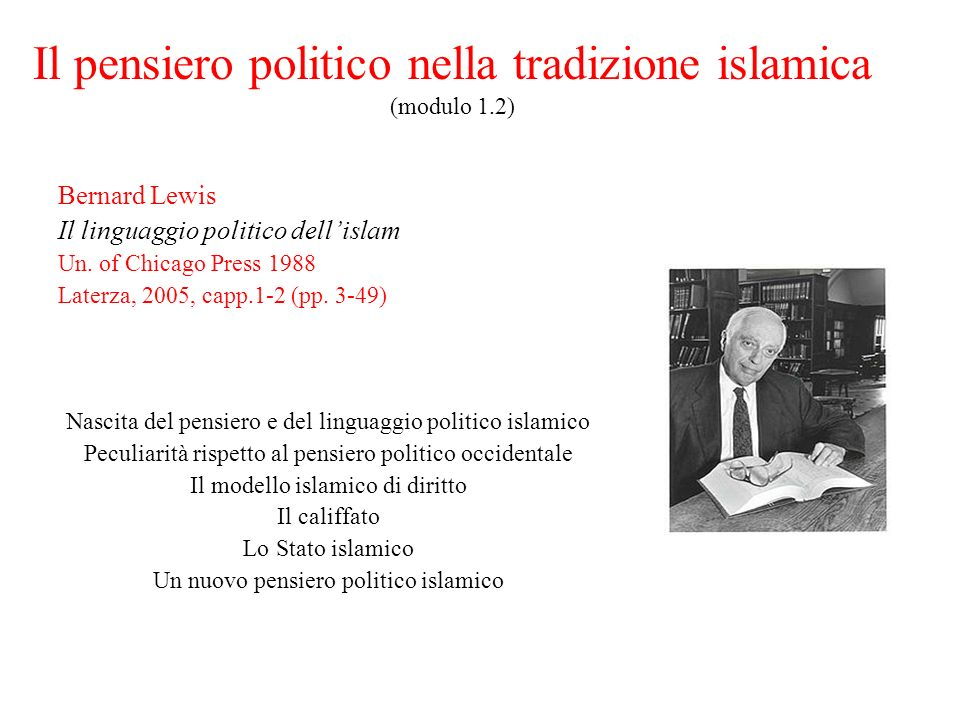 Il pensiero politico nella tradizione islamica (modulo 1.2)