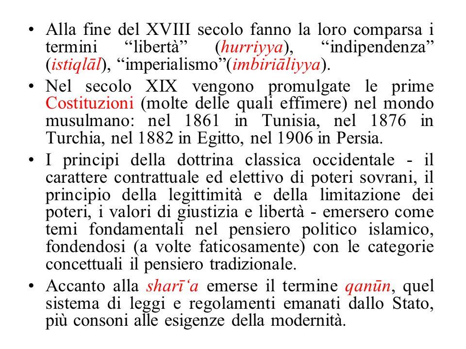 Alla fine del XVIII secolo fanno la loro comparsa i termini libertà (hurriyya), indipendenza (istiqlāl), imperialismo (imbiriāliyya).