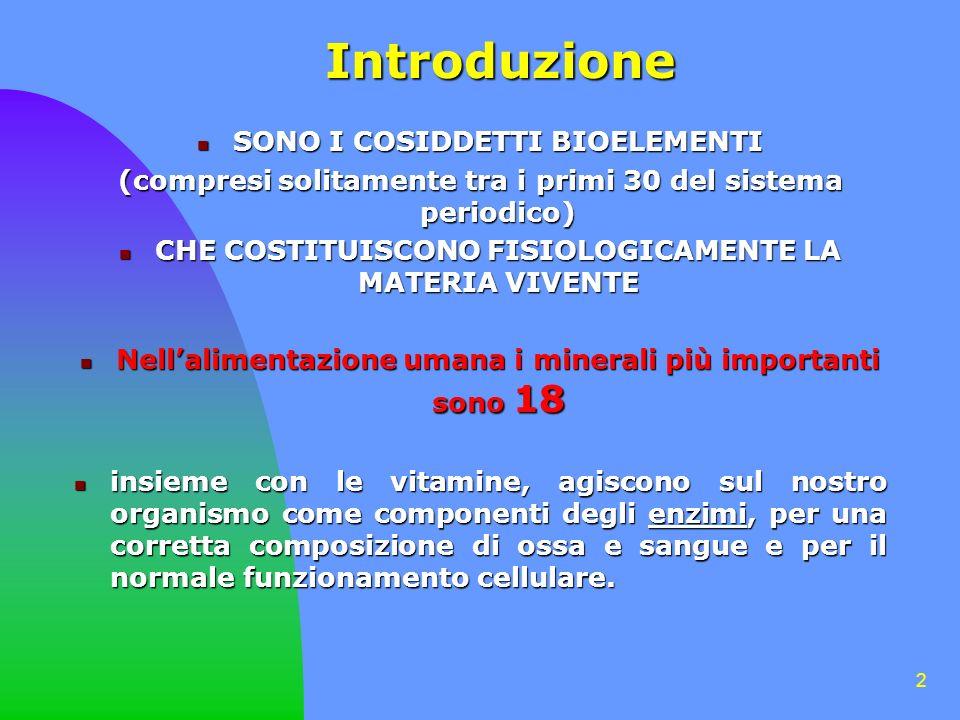 Introduzione SONO I COSIDDETTI BIOELEMENTI
