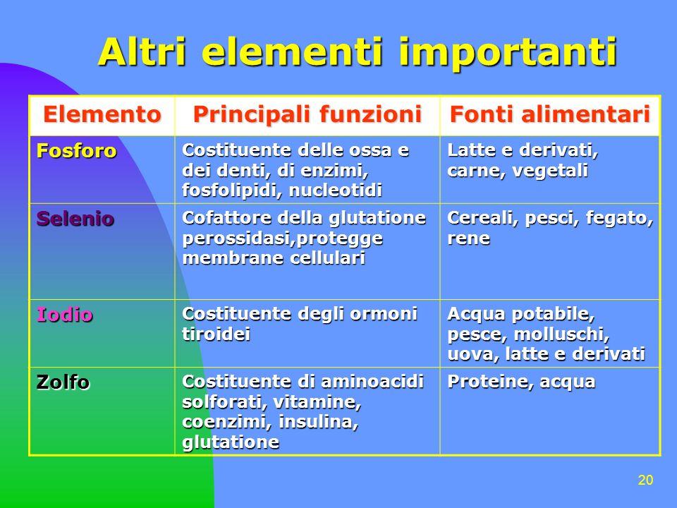 Altri elementi importanti