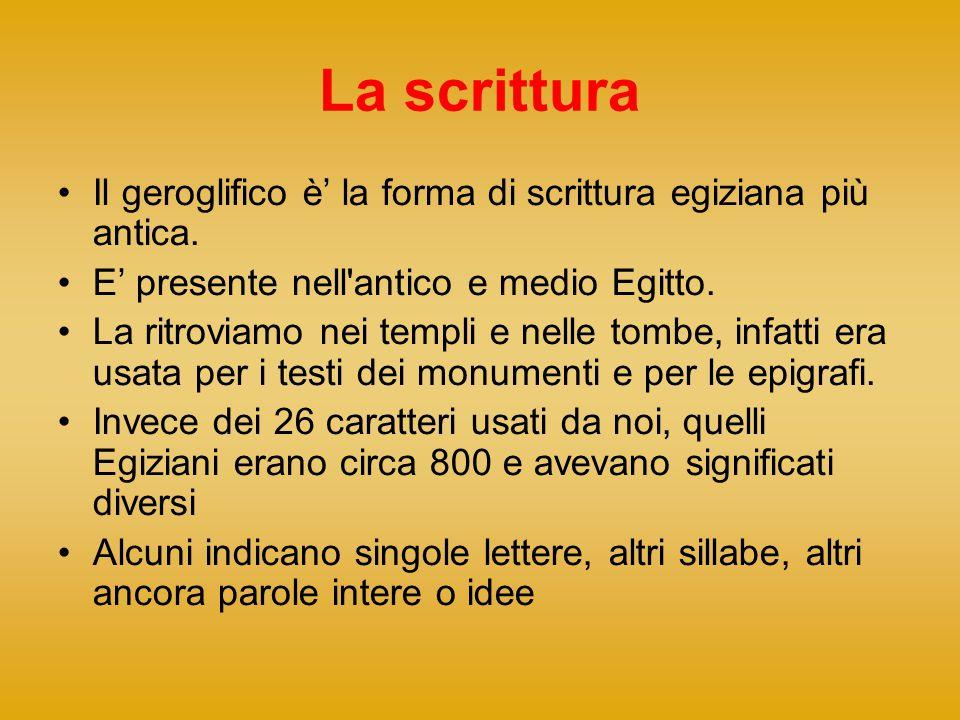 La scrittura Il geroglifico è' la forma di scrittura egiziana più antica. E' presente nell antico e medio Egitto.