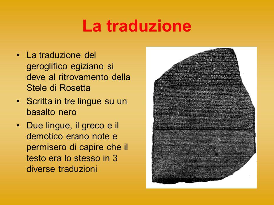 La traduzione La traduzione del geroglifico egiziano si deve al ritrovamento della Stele di Rosetta.