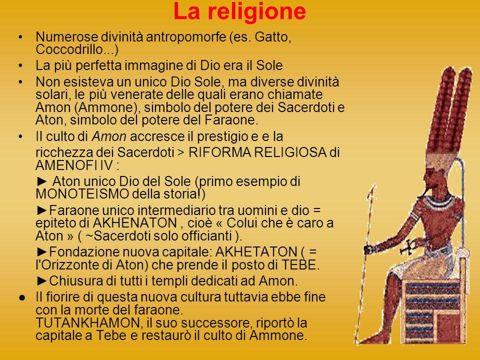 La religione Numerose divinità antropomorfe (es. Gatto, Coccodrillo...) La più perfetta immagine di Dio era il Sole.