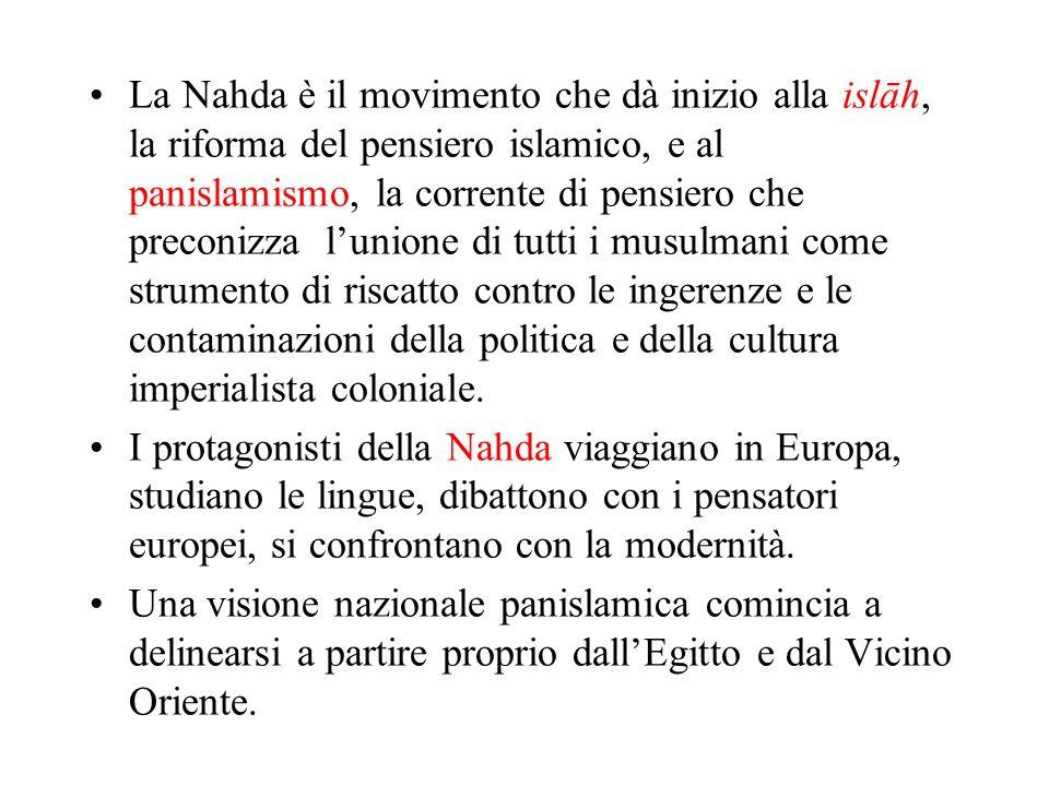 La Nahda è il movimento che dà inizio alla islāh, la riforma del pensiero islamico, e al panislamismo, la corrente di pensiero che preconizza l'unione di tutti i musulmani come strumento di riscatto contro le ingerenze e le contaminazioni della politica e della cultura imperialista coloniale.