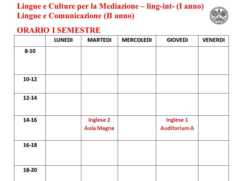 Lingue e Culture per la Mediazione – ling-int- (I anno)