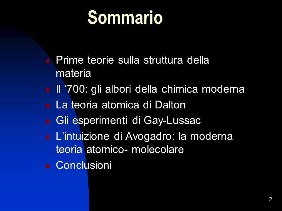 Sommario Prime teorie sulla struttura della materia
