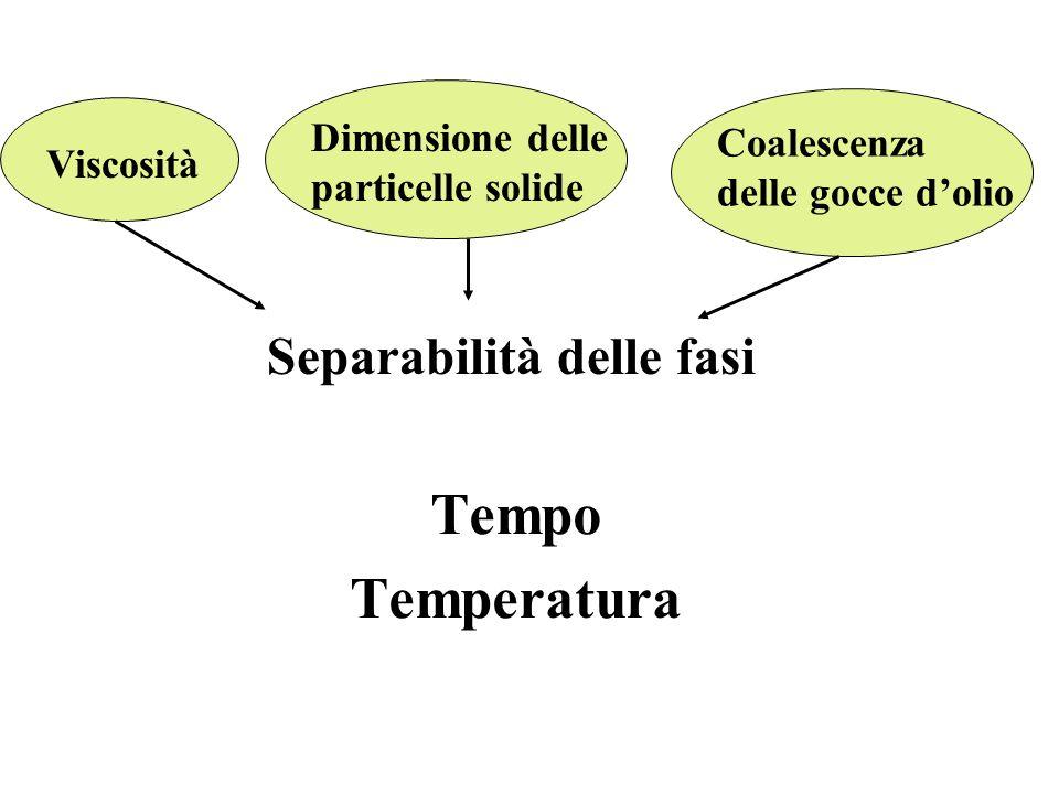 Tempo Temperatura Separabilità delle fasi Dimensione delle Coalescenza