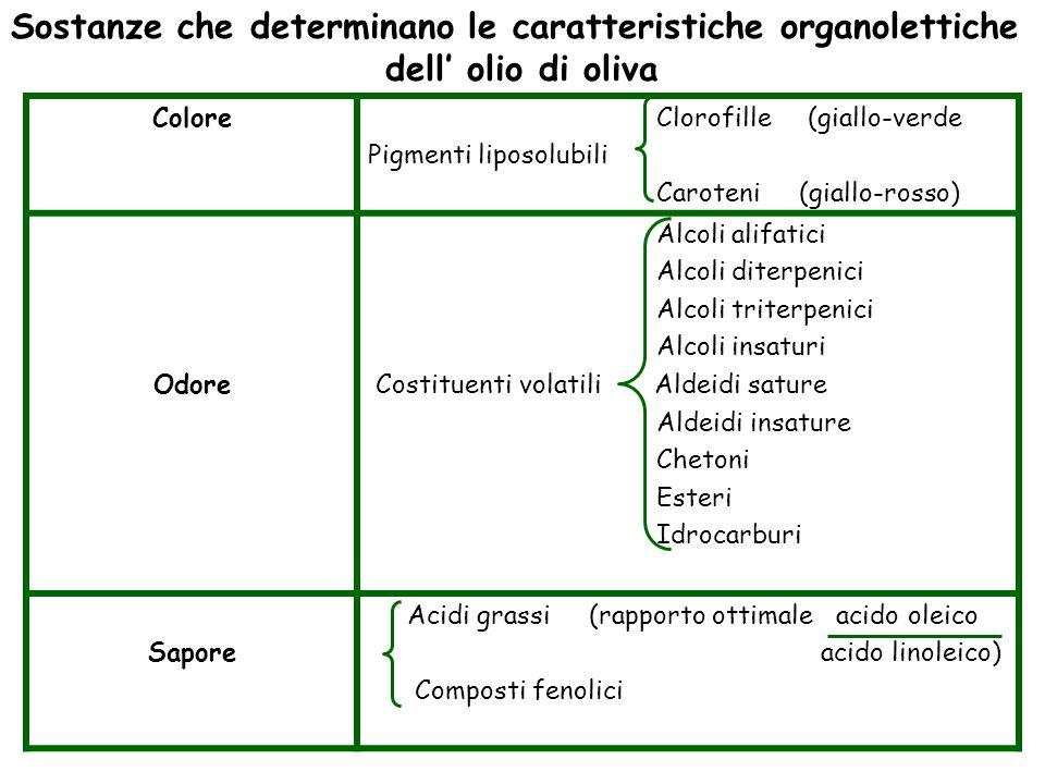 Sostanze che determinano le caratteristiche organolettiche