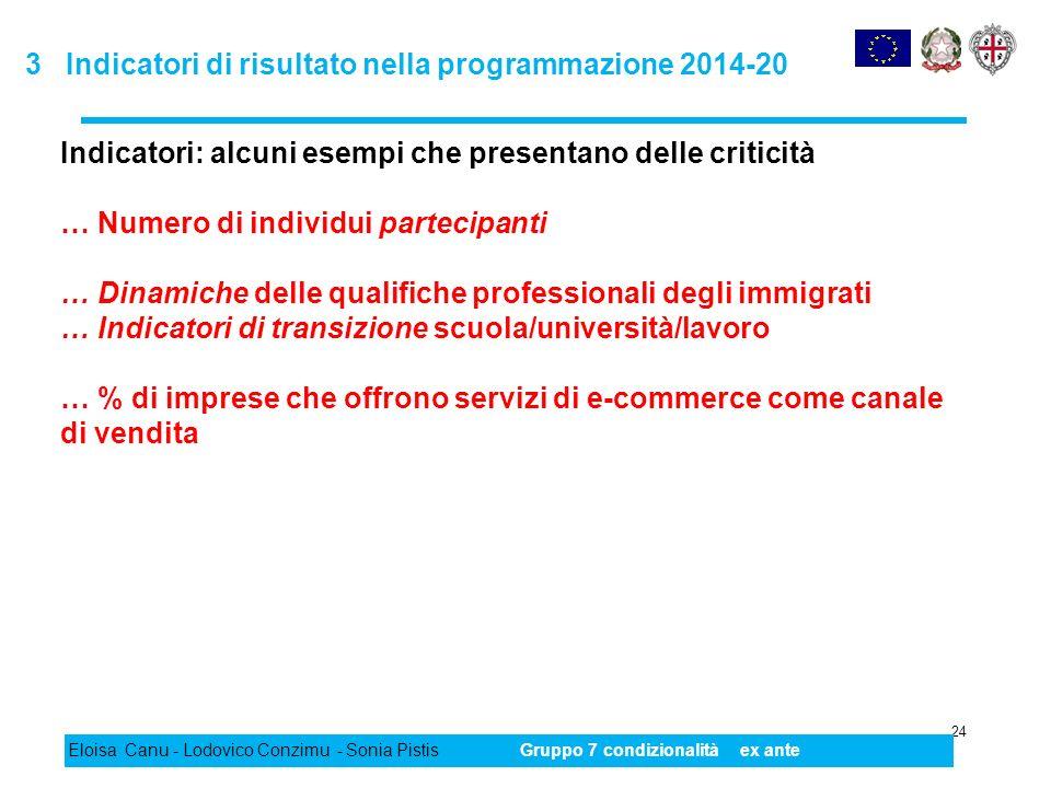 3 Indicatori di risultato nella programmazione 2014-20