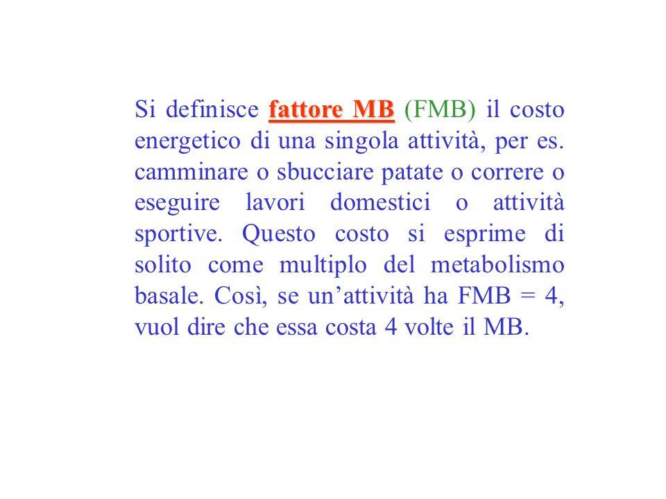 Si definisce fattore MB (FMB) il costo energetico di una singola attività, per es.