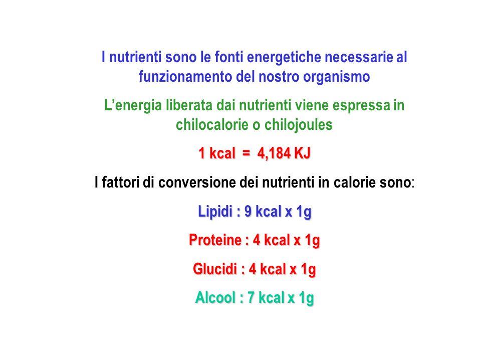 I fattori di conversione dei nutrienti in calorie sono: