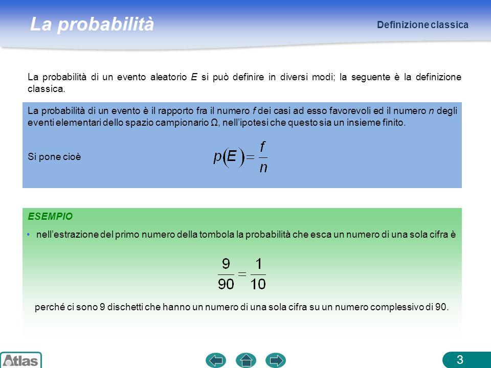 Definizione classicaLa probabilità di un evento aleatorio E si può definire in diversi modi; la seguente è la definizione classica.