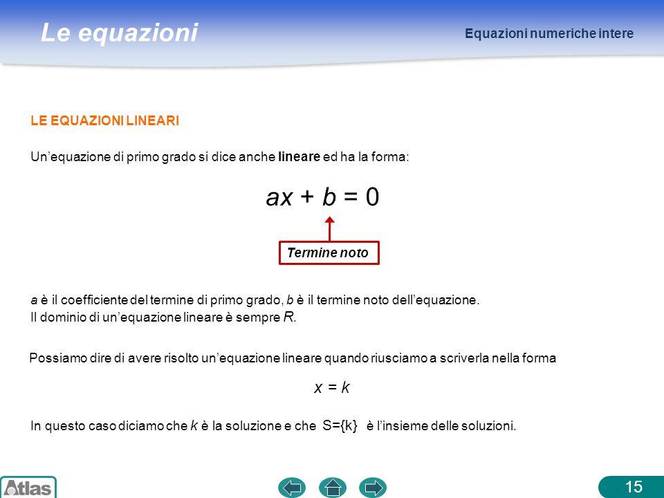 ax + b = 0 x = k 15 Equazioni numeriche intere LE EQUAZIONI LINEARI