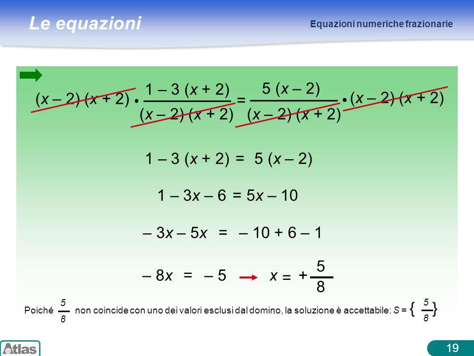 1 – 3 (x + 2) (x – 2) (x + 2) = 5 (x – 2) 1 – 3 (x + 2) = 5 (x – 2)