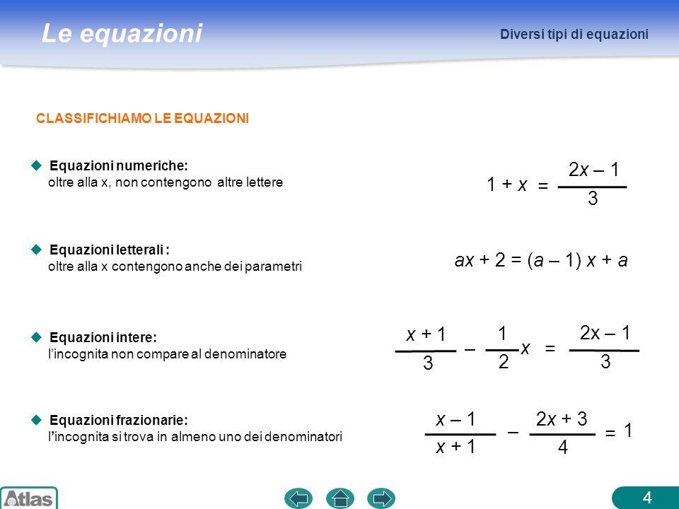 1 + x = 2x – 1 3 ax + 2 = (a – 1) x + a – = 2x – 1 3 x + 1 1 2 x – =