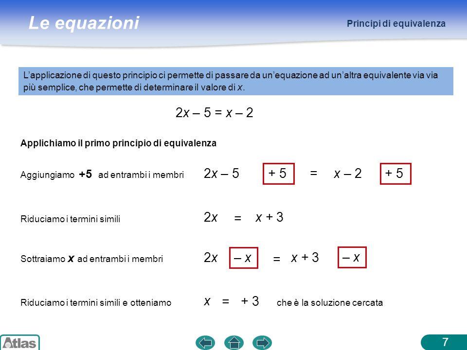 2x – 5 = x – 2 2x – 5 + 5 = x – 2 + 5 2x = x + 3 2x – x = x + 3 – x x