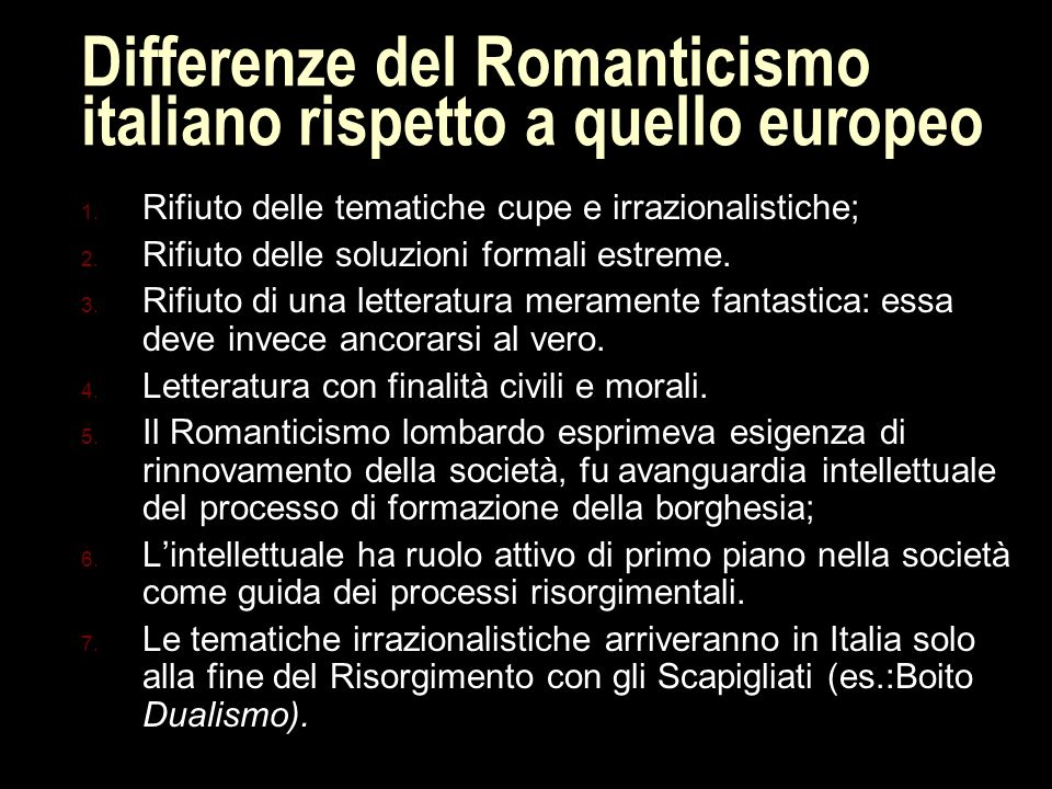 Differenze del Romanticismo italiano rispetto a quello europeo