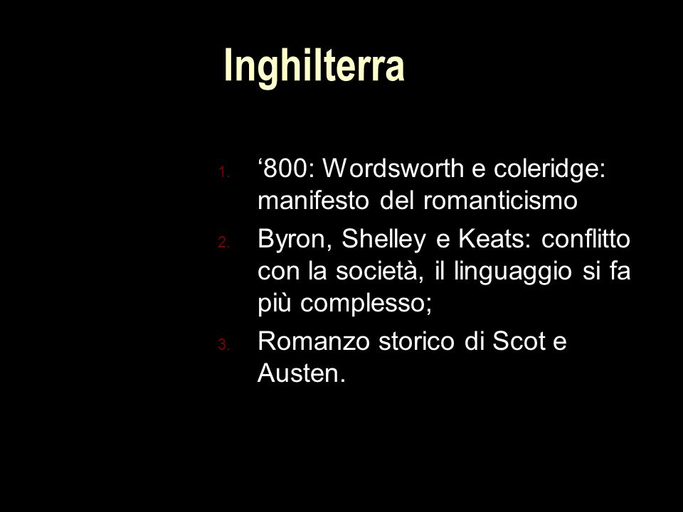 Inghilterra '800: Wordsworth e coleridge: manifesto del romanticismo