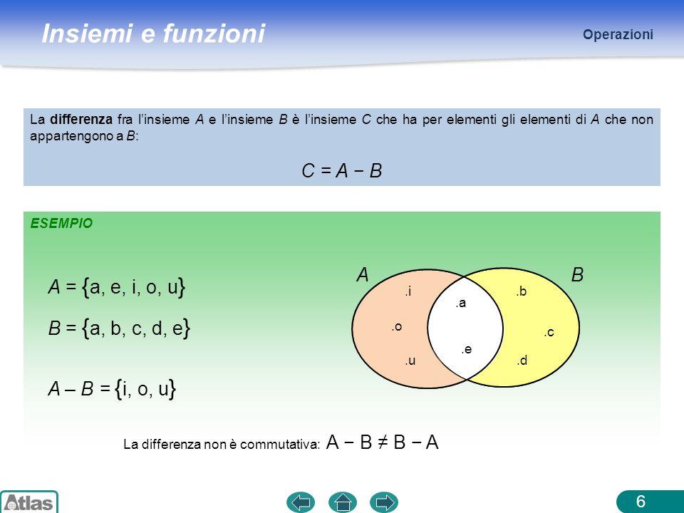 C = A − B A B A = {a, e, i, o, u} B = {a, b, c, d, e}