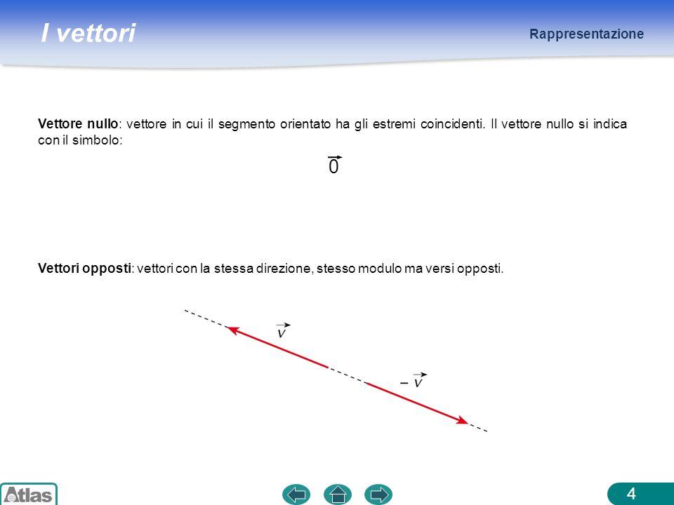 Rappresentazione Vettore nullo: vettore in cui il segmento orientato ha gli estremi coincidenti. Il vettore nullo si indica con il simbolo: