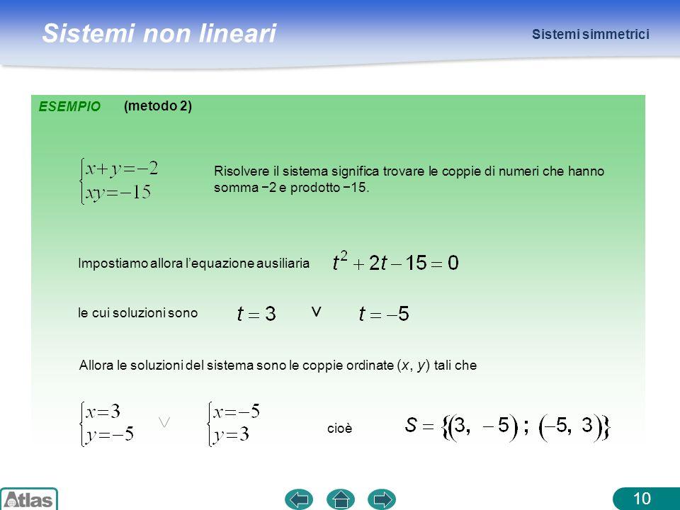 ∨ Sistemi simmetrici ESEMPIO (metodo 2)