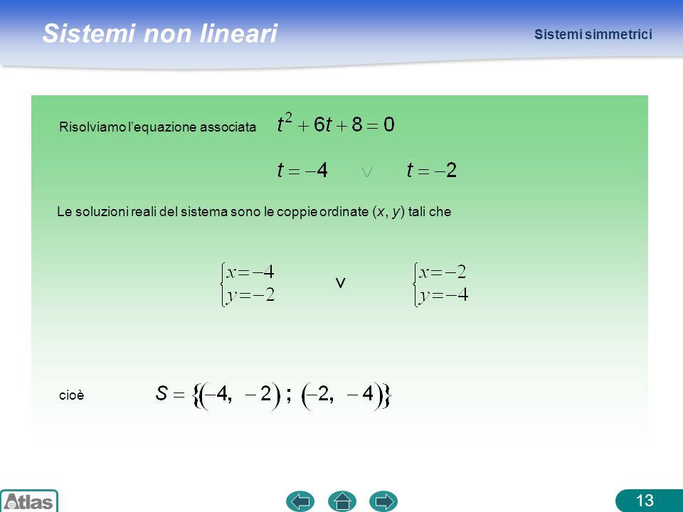 ∨ Sistemi simmetrici Risolviamo l'equazione associata
