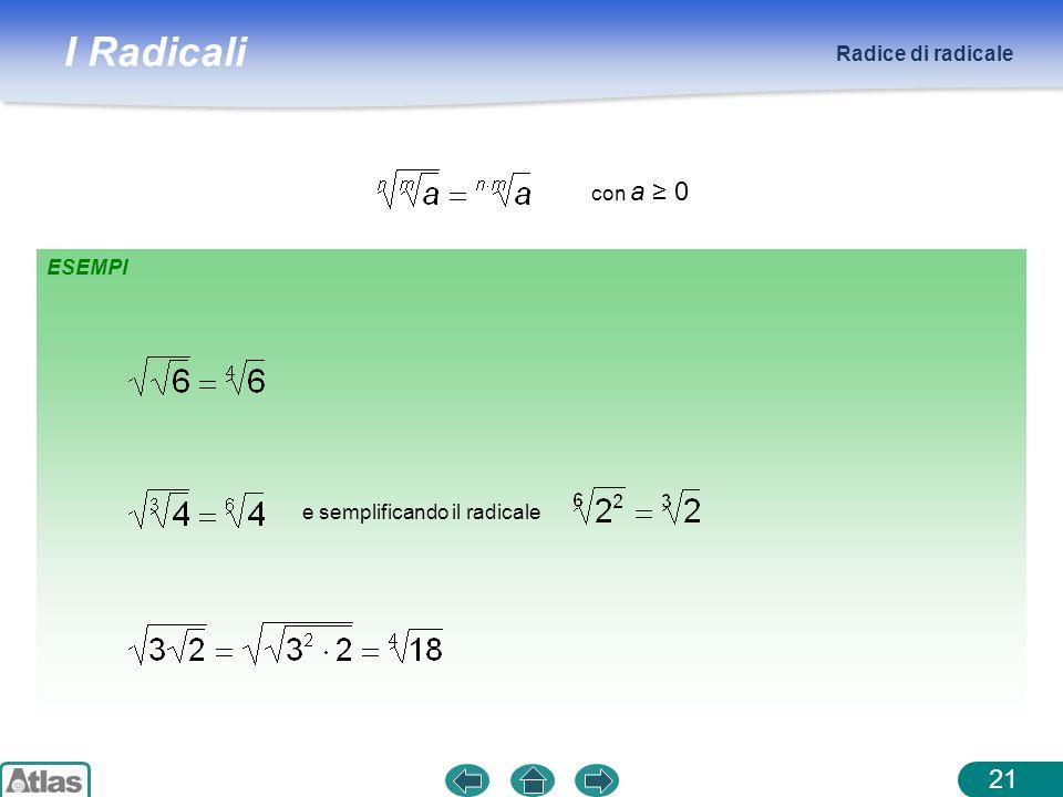 Radice di radicale con a ≥ 0 ESEMPI e semplificando il radicale