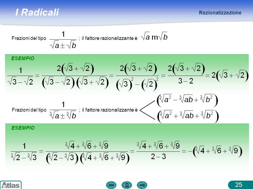Razionalizzazione Frazioni del tipo ; il fattore razionalizzante è. ESEMPIO.