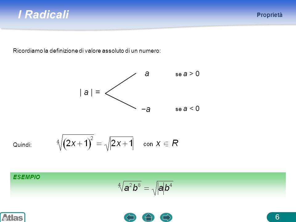 Proprietà Ricordiamo la definizione di valore assoluto di un numero: a. se a > 0. | a | = −a. se a < 0.