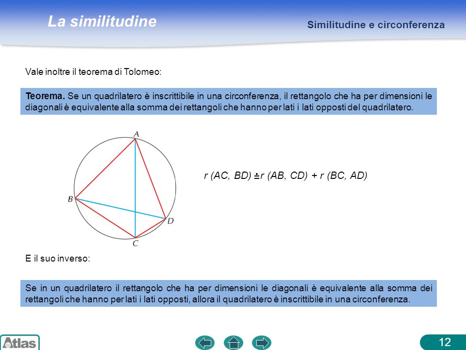 12 Similitudine e circonferenza r (AC, BD) r (AB, CD) + r (BC, AD)