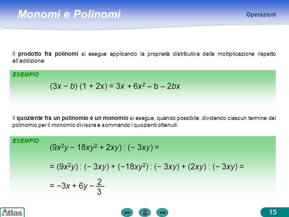 = (9x2y) : (− 3xy) + (−18xy2) : (− 3xy) + (2xy) : (− 3xy) =
