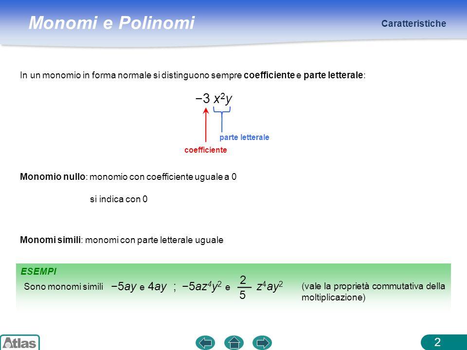 −3 x2y −5ay e 4ay ; −5az4y2 e z4ay2 2 5 Caratteristiche