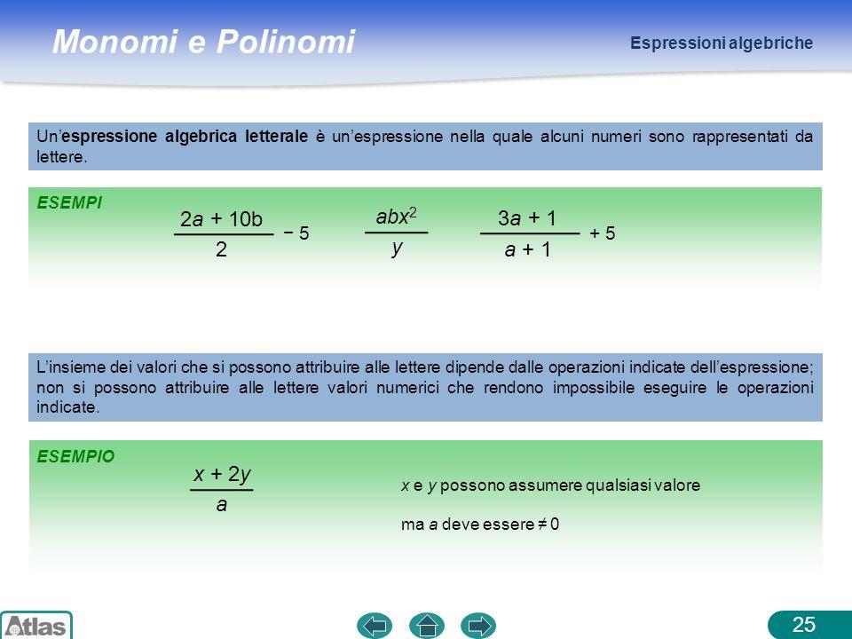2a + 10b abx2 3a + 1 y 2 a + 1 x + 2y a − 5 + 5 Espressioni algebriche