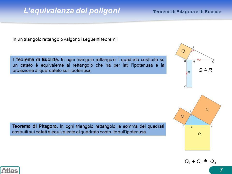 7 Q R Q1 + Q2 Q3 Teoremi di Pitagora e di Euclide