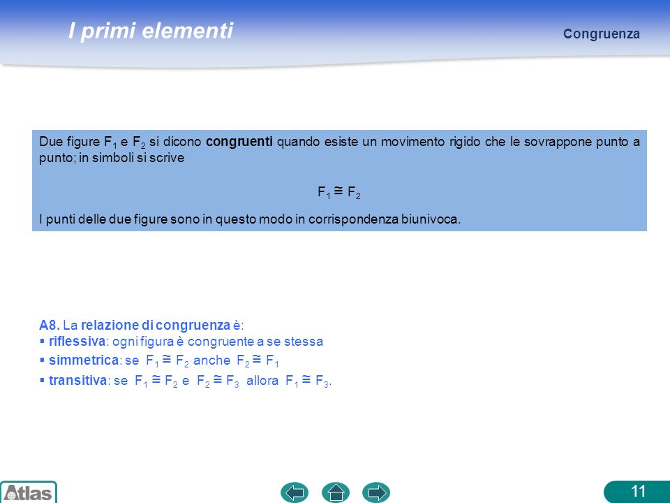 Congruenza Due figure F1 e F2 si dicono congruenti quando esiste un movimento rigido che le sovrappone punto a punto; in simboli si scrive.