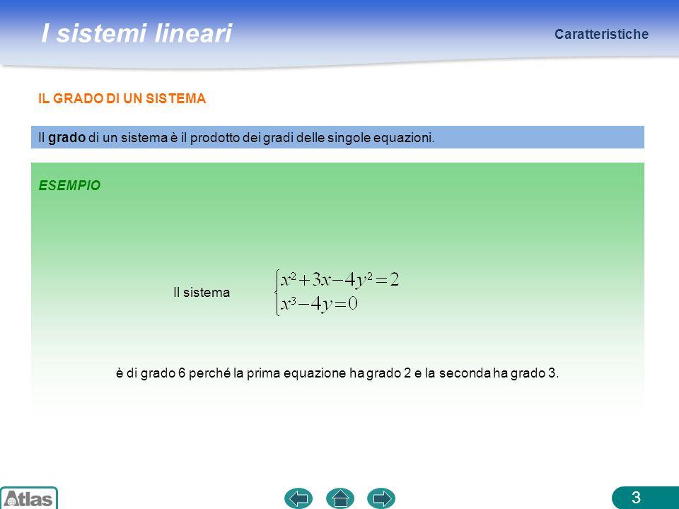 Caratteristiche IL GRADO DI UN SISTEMA. Il grado di un sistema è il prodotto dei gradi delle singole equazioni.