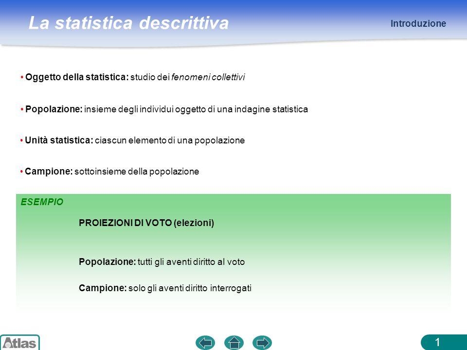 Introduzione Oggetto della statistica: studio dei fenomeni collettivi. Popolazione: insieme degli individui oggetto di una indagine statistica.