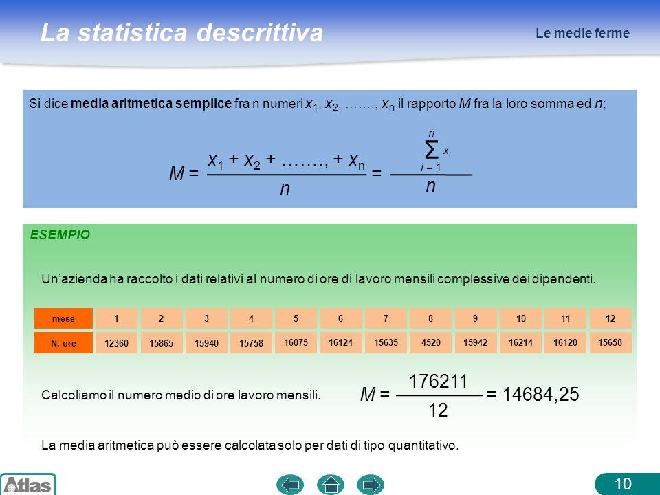 Σ x1 + x2 + ……., + xn M = = n 176211 M = = 14684,25 12 Le medie ferme