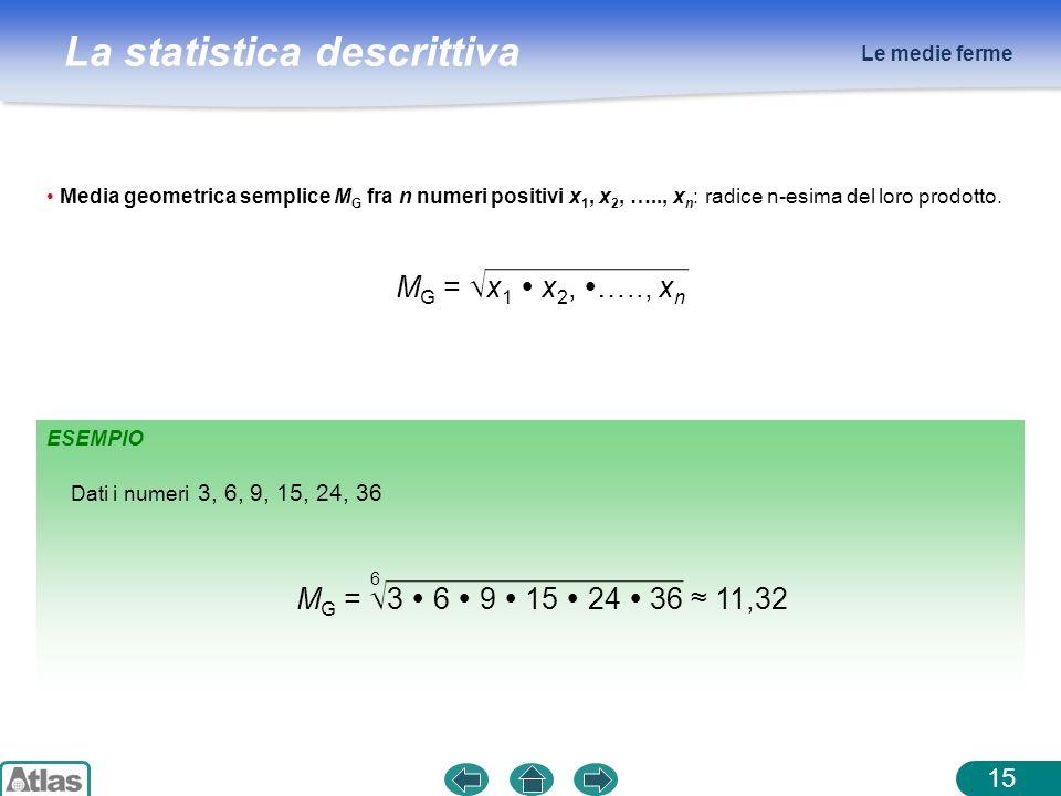 MG = √x1  x2, ….., xn MG = √3  6  9  15  24  36 ≈ 11,32