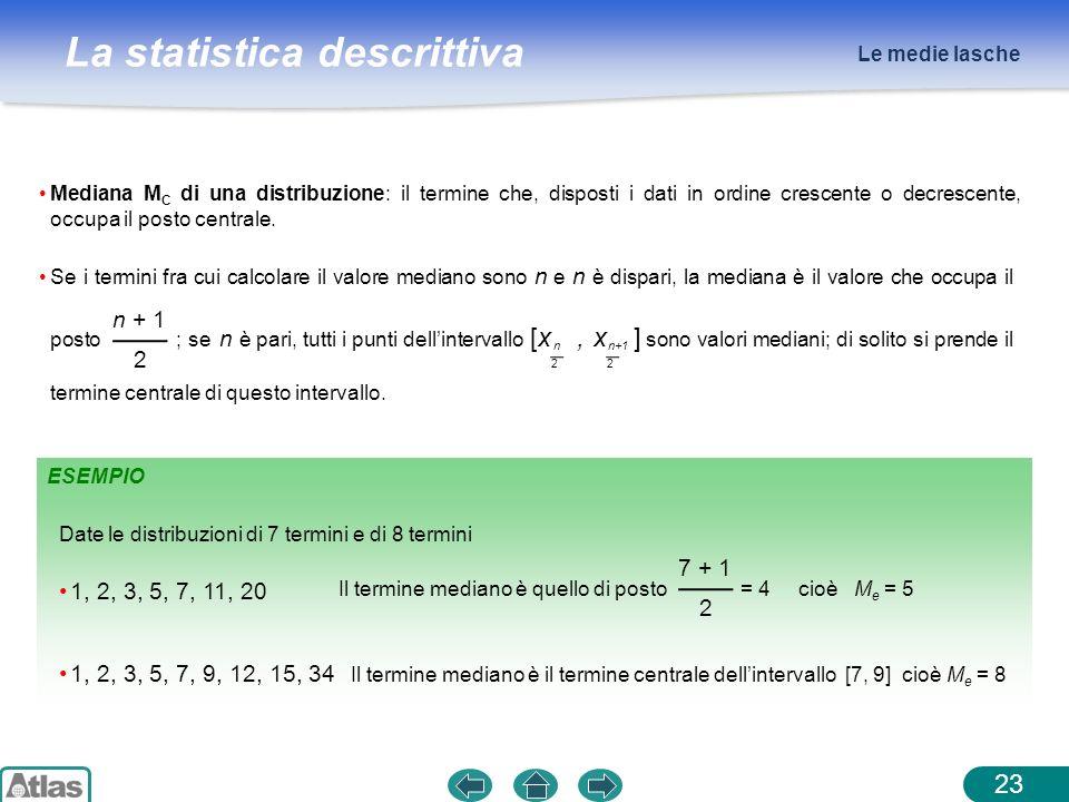 Le medie lasche Mediana MC di una distribuzione: il termine che, disposti i dati in ordine crescente o decrescente, occupa il posto centrale.