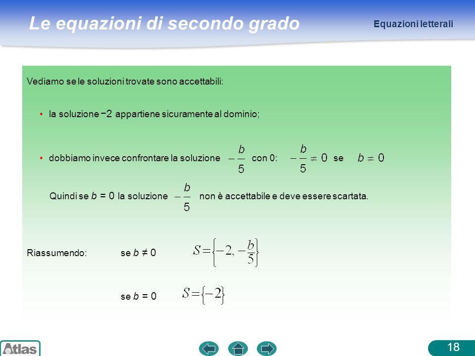 Equazioni letterali Vediamo se le soluzioni trovate sono accettabili: la soluzione −2 appartiene sicuramente al dominio;