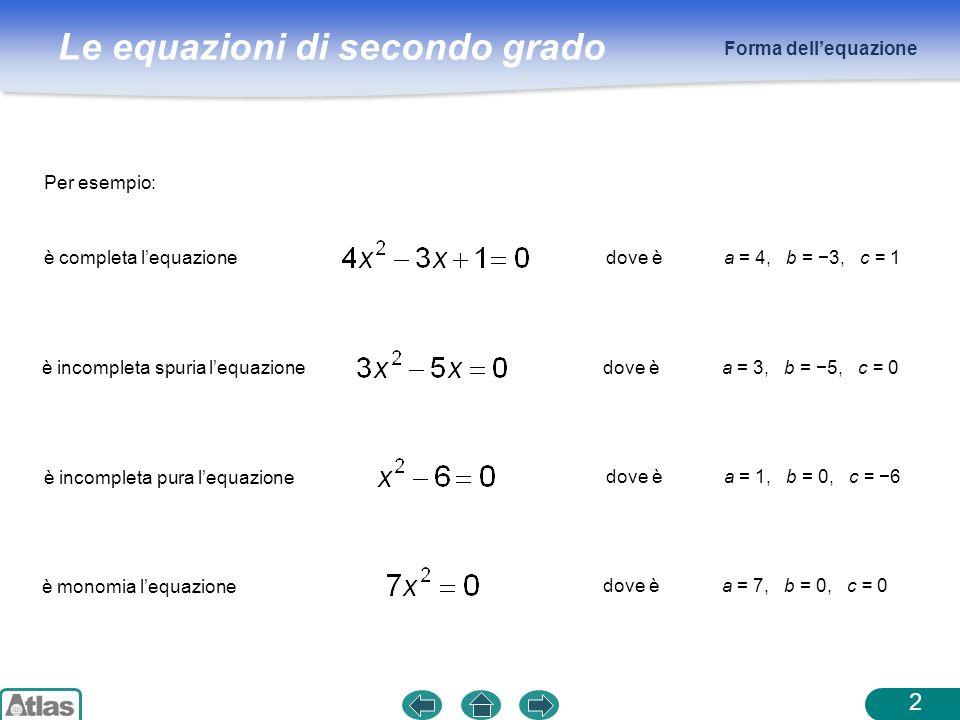 Forma dell'equazione Per esempio: è completa l'equazione. dove è. a = 4, b = −3, c = 1. è incompleta spuria l'equazione.