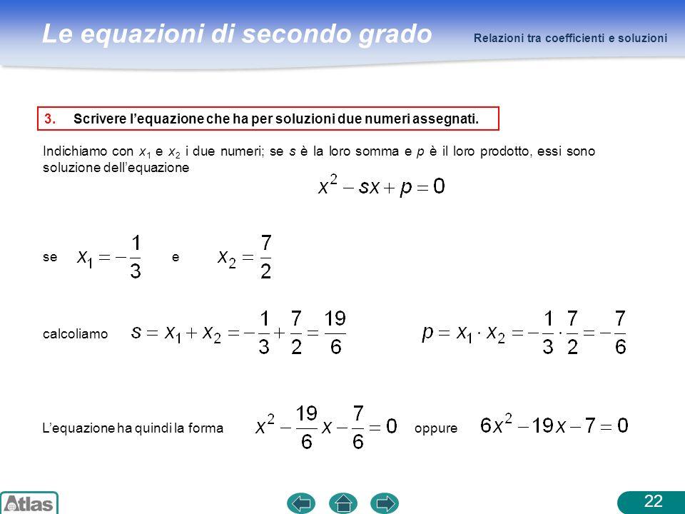 Scrivere l'equazione che ha per soluzioni due numeri assegnati.