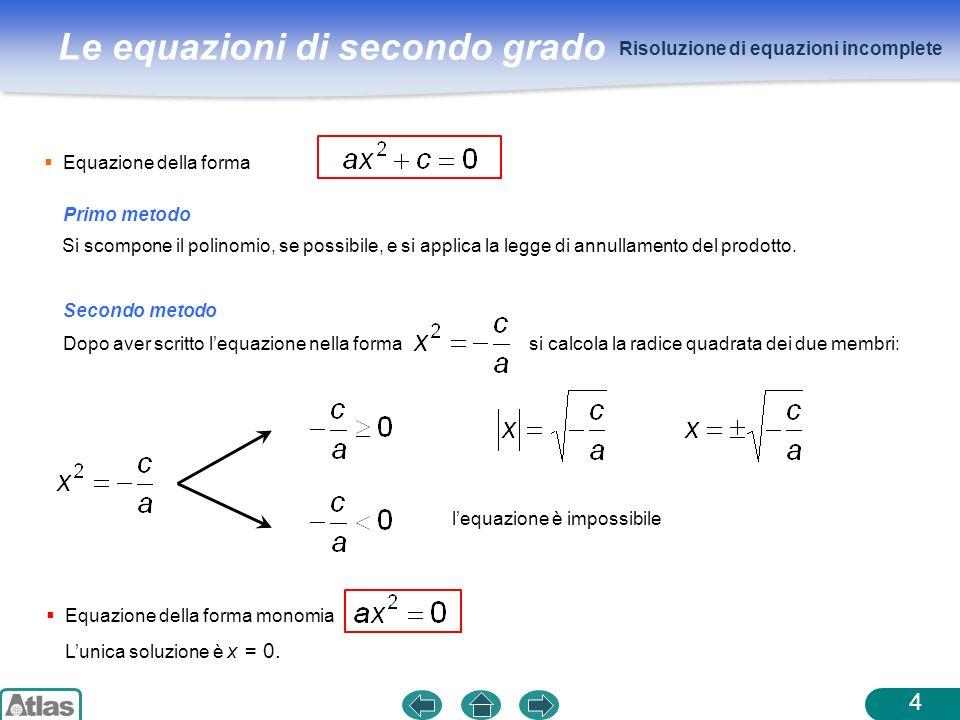 Risoluzione di equazioni incomplete